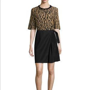 NWT, 3.1 Phillip Lim tiger peint combo dress, sz 4